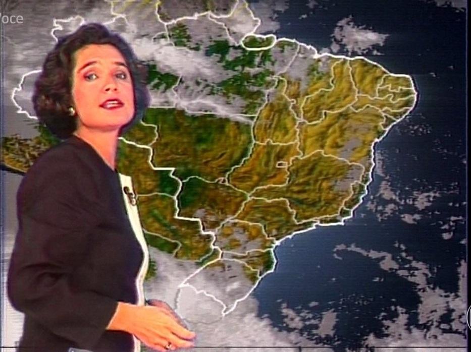 Sandra Annenberg como garota do tempo do JN (Foto: reprodução/Globo)