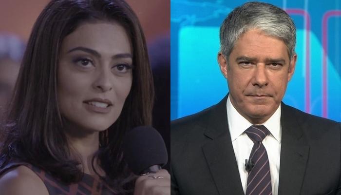 Juliana Paes (Carolina) em Totalmente Demais e William Bonner no Jornal Nacional: audiência em alta (Foto: Reprodução/Globo/Montagem)