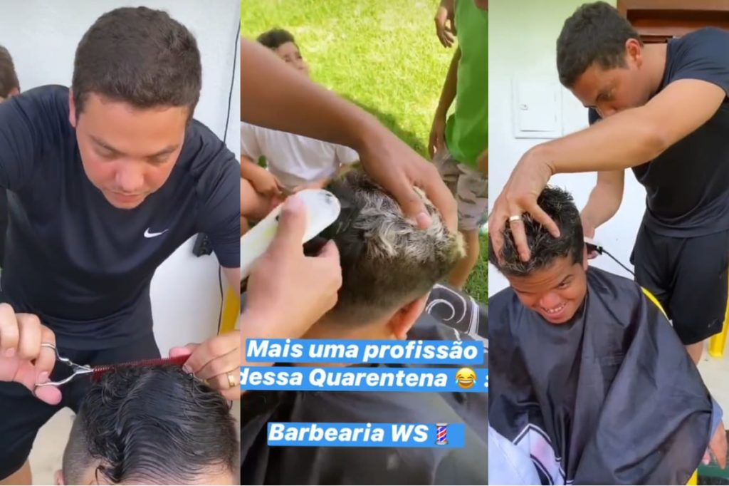 Wesley Safadão corta cabelo da famílias em seus aras no Ceará