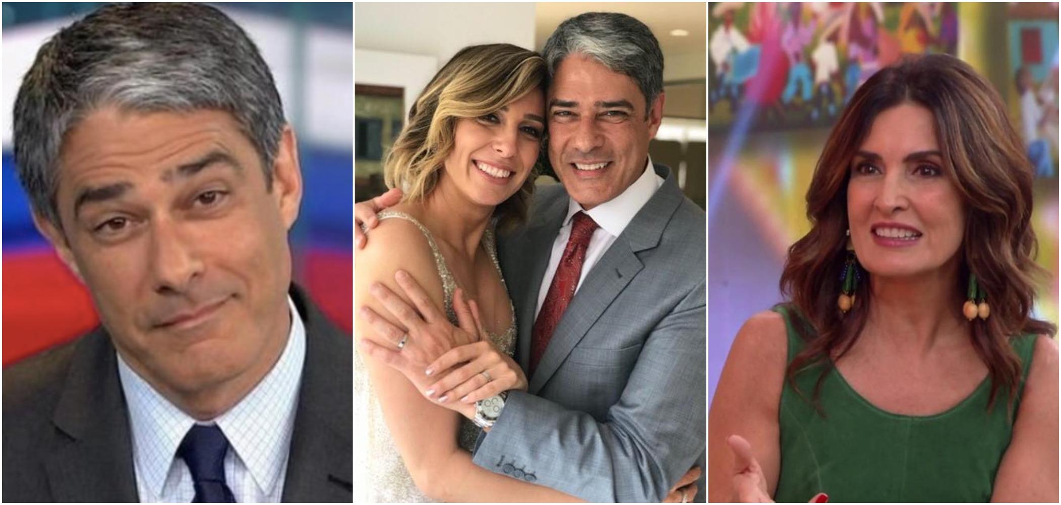 William Bonner com sua atual esposa, Natasha Dantas, e a ex, Fátima Bernardes (Reprodução)