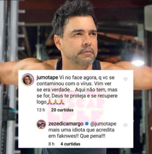 O famoso cantor sertanejo, que faz dupla com Luciano, Zezé Di Camargo deixou os seus seguidores de queixo caído após chamar uma fã de idiota publicamente (Foto: Reprodução/Instagram)