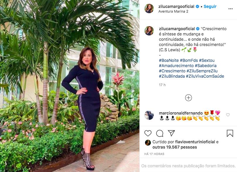 A famosa empresária e ex-mulher do cantor sertanejo Zezé Di Camargo, ZIlu voltou a chamar a atenção dos internautas (Foto: Reprodução/Instagram)