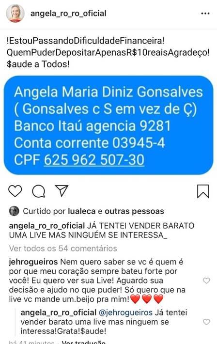 Publicação de Angela Ro Ro (Foto: Reprodução)
