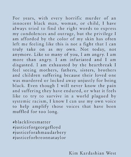 Texto compartilhado por Kim Kardashian em seu Instagram (Foto: Reprodução)