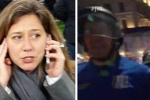 Carolina Cimenti ficou revoltada com policial após ser empurrada durante reportagem ao vivo na GloboNews (Foto: Montagem/TV Foco)