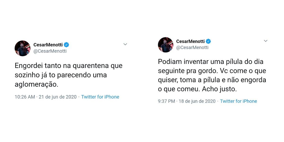 César Menotti fala no twitter sobre aumento de peso em meio ao isolamento social (Foto: Reprodução/Twitter)