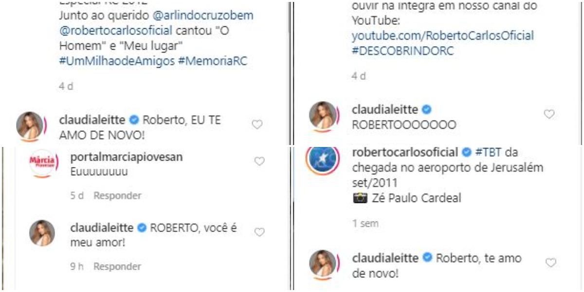 Claudia Leitte enche Roberto Carlos de comentários (Foto: Reprodução)