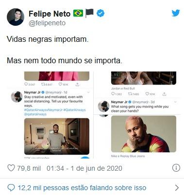 Publicação de Felipe Neto (Foto: Reprodução/Twitter)