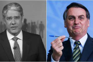 Bolsonaro tenta atrapalhar Globo e Jornal Nacional com atraso em divulgação de dados sobre covid-19. (Foto: Montagem/Reprodução)