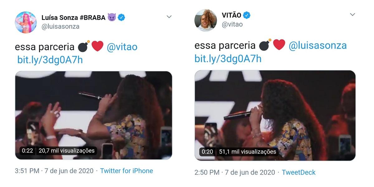Luísa e Vitão falam sobre parceria no twitter após rumores de affair (Foto: Reprodução/Twitter)