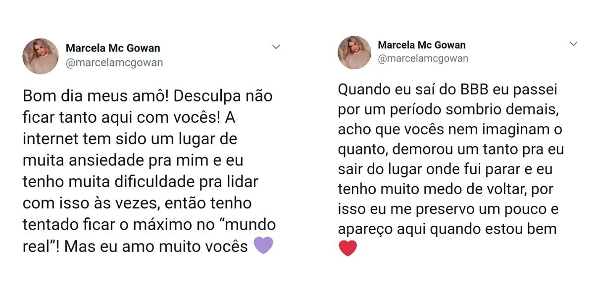 Marcela Mc Gowan explica motivo por sumiço em redes (Foto: Reprodução/Twitter)