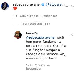 Resposta de um internauta para o comentário de Rebeca Abravanel (Foto: Reprodução)