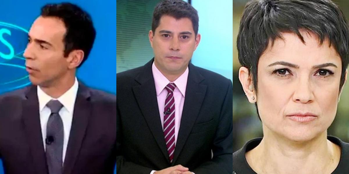 Evaristo e Tralli só de sunga, Sandra Anneberg de biquini e Bonner aos beijos: Âncoras expostos– TV Foco