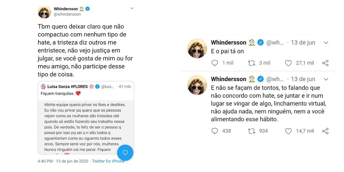 Após ataques em clipe de Luísa Sonza, Whindersson Nunes usa redes para se pronunciar (Foto: Reprodução/Twitter)