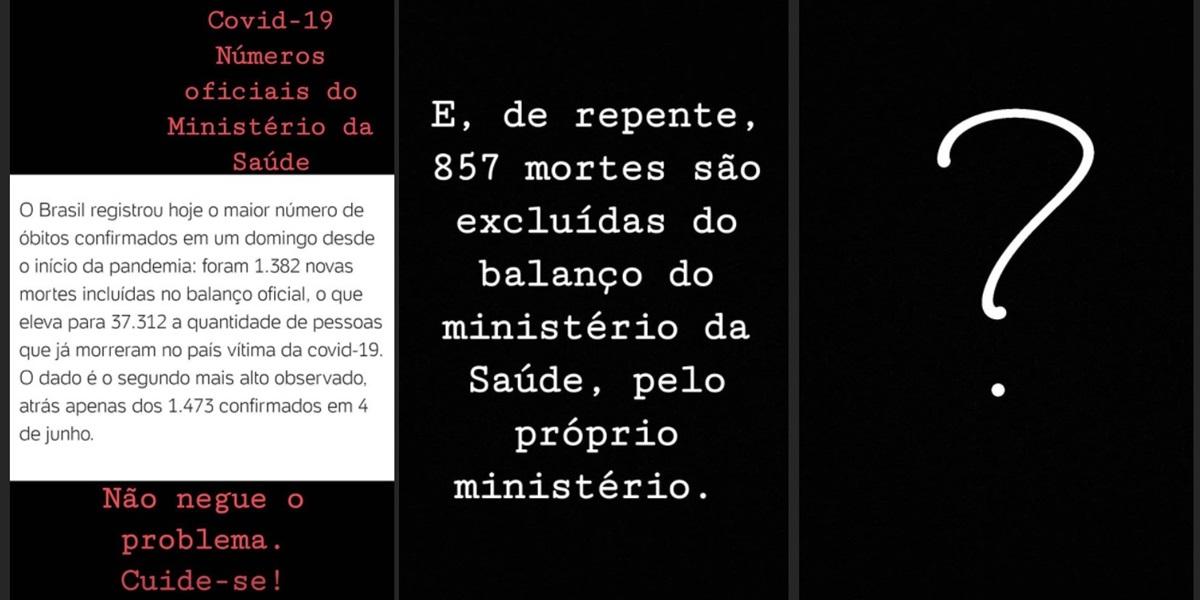 Adriana Araújo se manisfestou em seu stories (Foto: reprodução/Instagram)