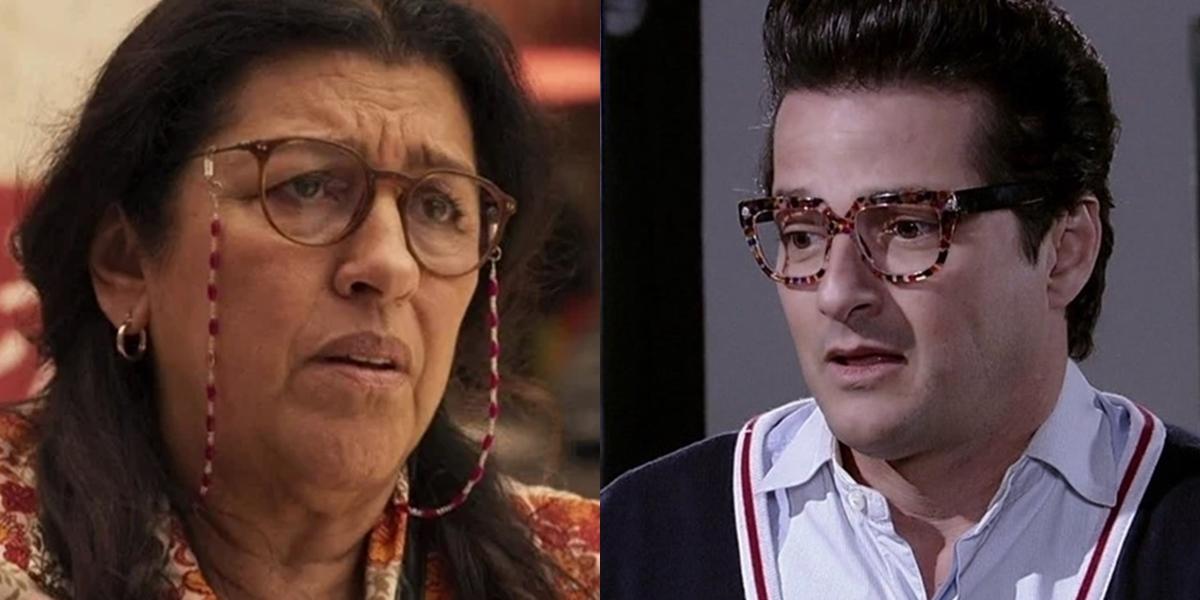 Regina Casé (Lurdes) em Amor de Mãe e Marcelo Serrado (Crô) em Fina Estampa; Globo pode fazer mudança histórica no horário das nove (Foto: Reprodução/Globo)