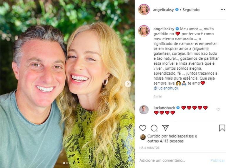 Angélica se declara para o apresentador Luciano Huck, seu marido, nas redes sociais (foto: reprodução/ Instagram)