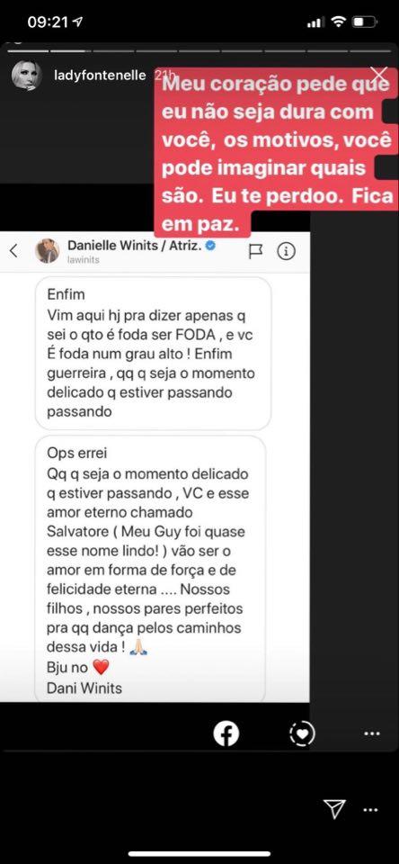 Antonia Fontenelle mostrou mensagem enviada por Danielle Winits à ela no passado (Reprodução)