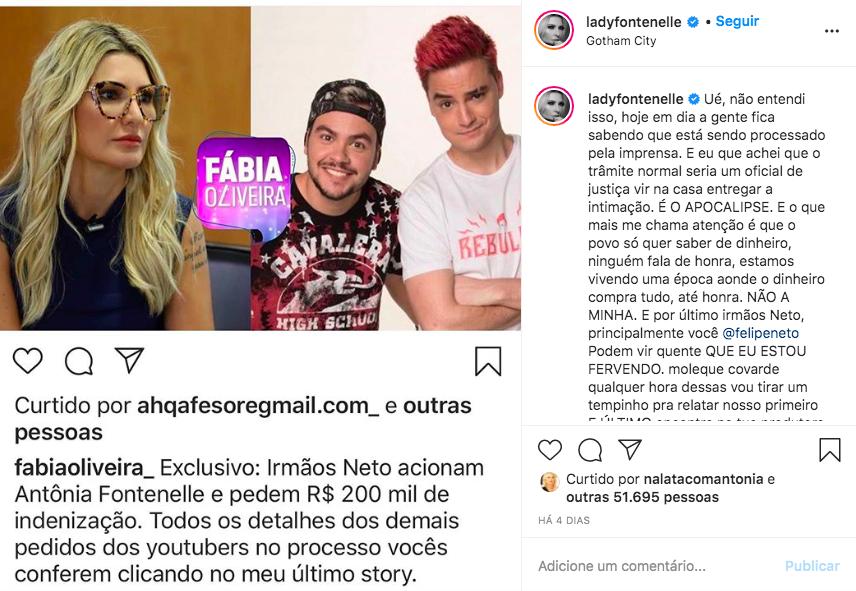 A famosa youtuber Antonia Fontenelle agitou as redes sociais ao falar sobre o polêmico caso envolvendo Felipe Neto e Lucas Neto (Foto: reprodução/Instagram)