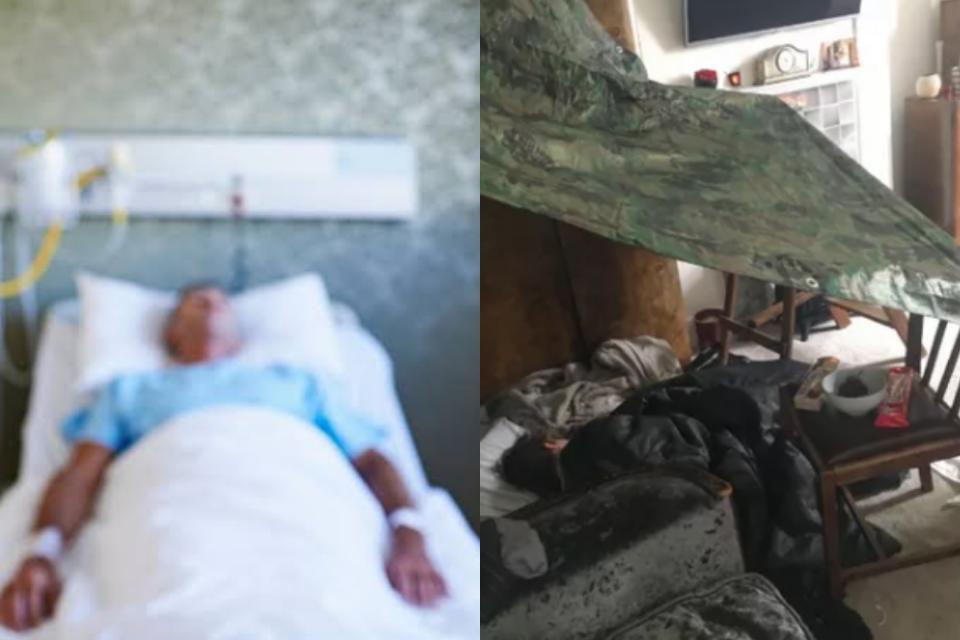 Apresentadora revela que seu filho montou um acampamento ao lado da cama vazia do pai que está na UTI (Foto: Reprodução)