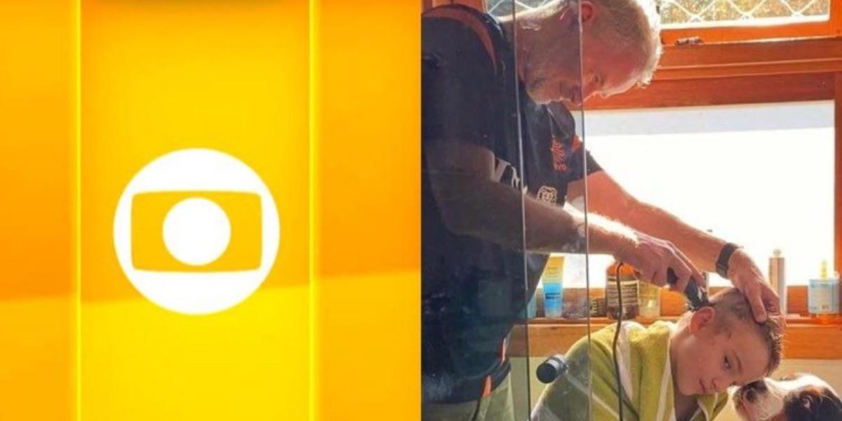 Dan Stulbach vira cabeleireiro e corta os cabelos do filho Davi (Imagem: Instagram)