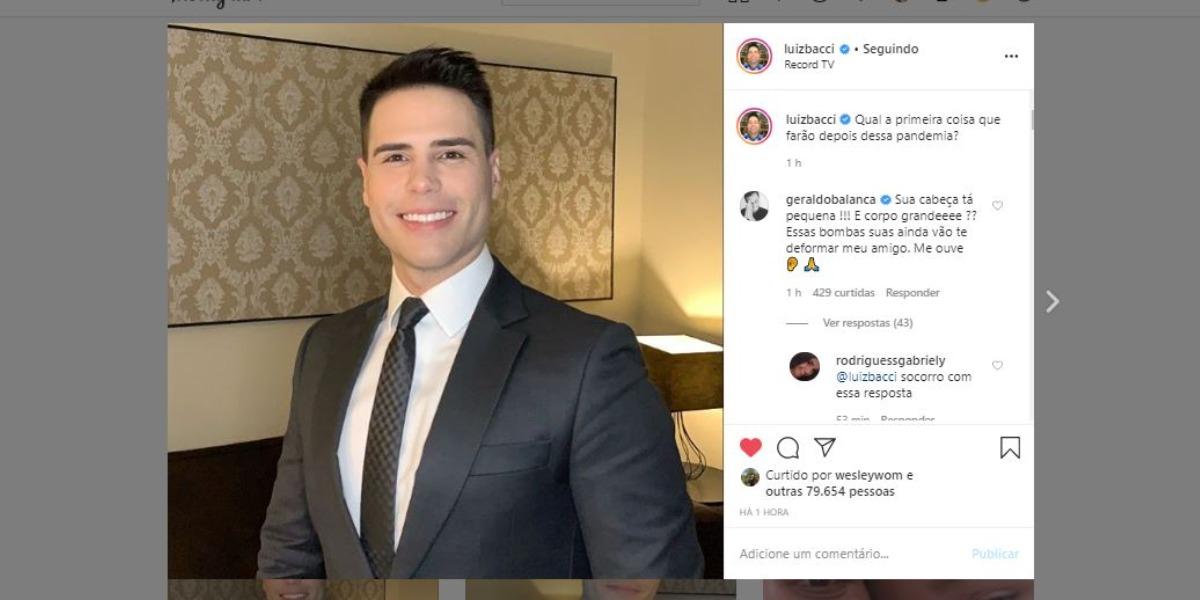 Luiz Bacci virou piada em brincadeira com Geraldo Luís (Foto: Reprodução/Instagram)