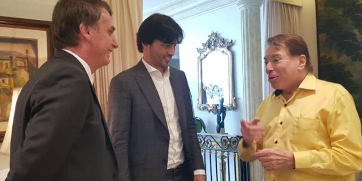 Jair Bolsonaro, Fábio Faria e Silvio Santos em reunião (Foto: Reprodução)