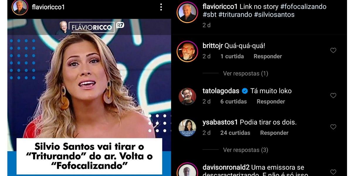 Britto Jr rebate decisão de Silvio Santos após volta do Fofocalizando no SBT (Foto: Reprodução/Instagram)