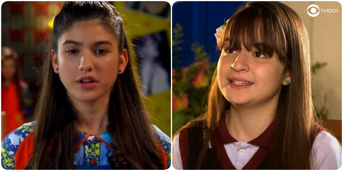 Giovanna Grigio (Mili) em Chiquititas e Sophia Valverde (Poliana) em As Aventuras de Poliana (Foto: Reprodução/SBT/Montagem/TV Foco)