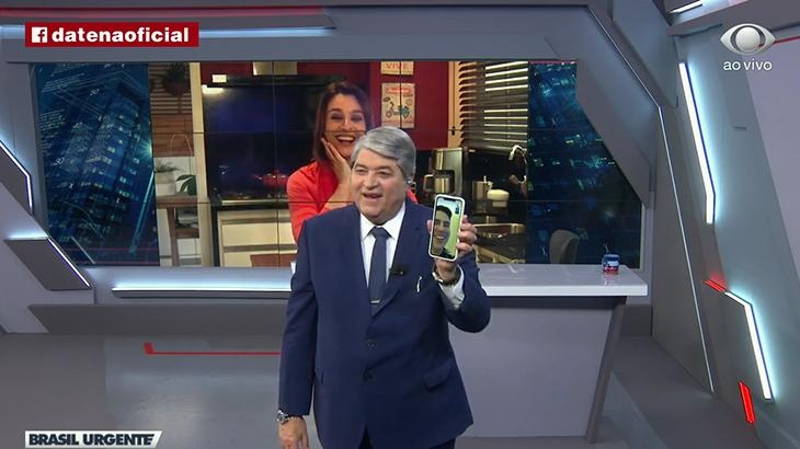 Datena ligou pata Luiz Bacci no 'Brasil Urgente' (Foto: reprodução/Band)