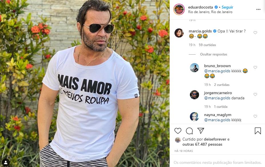 Eduardo Costa surgiu em foto com camiseta provocante e apresentadora famosa comentou