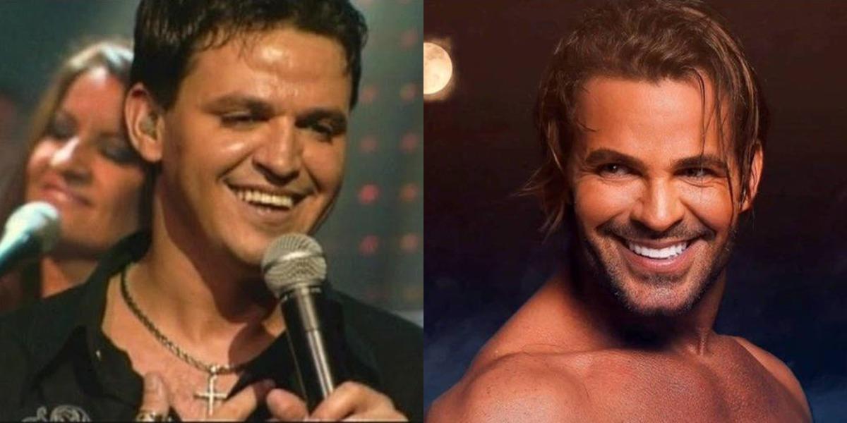 Eduardo Costa antes e depois da fama (Foto: Reprodução/YouTube/Instagram)