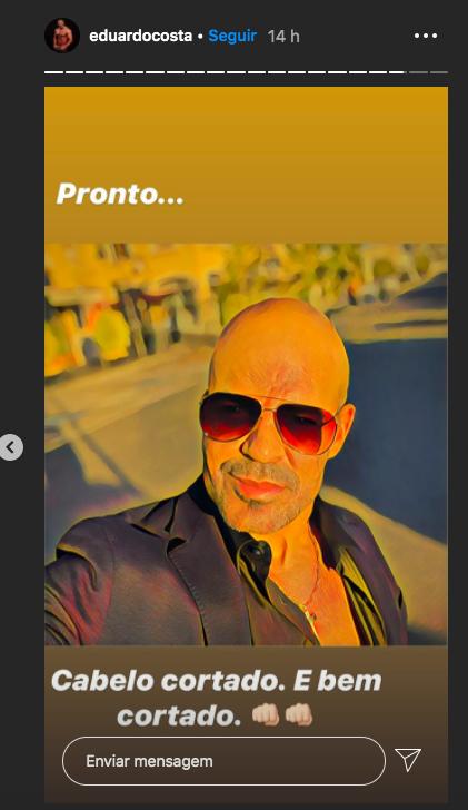 Eduardo Costa apareceu sem cabelo em seu Instagram (Foto: reprodução)