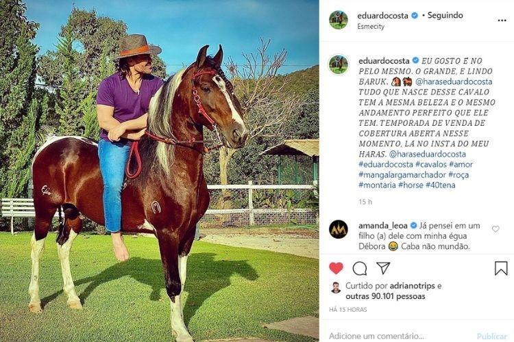 Eduardo Costa em um relato nas redes sociais (Foto: reprodução/Instagram)