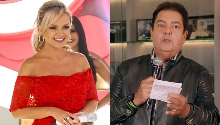 Eliana em seu programa no SBT e Faustão no Domingão; loira venceu a Globo e foi líder de audiência (Foto: Rodrigo Belentani/SBT e Reprodução/Globo/Montagem)