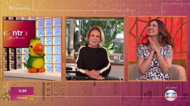 Ana Maria Braga, Fátima Bernardes e Louro José no Encontro da Globo (Imagem: Reprodução)