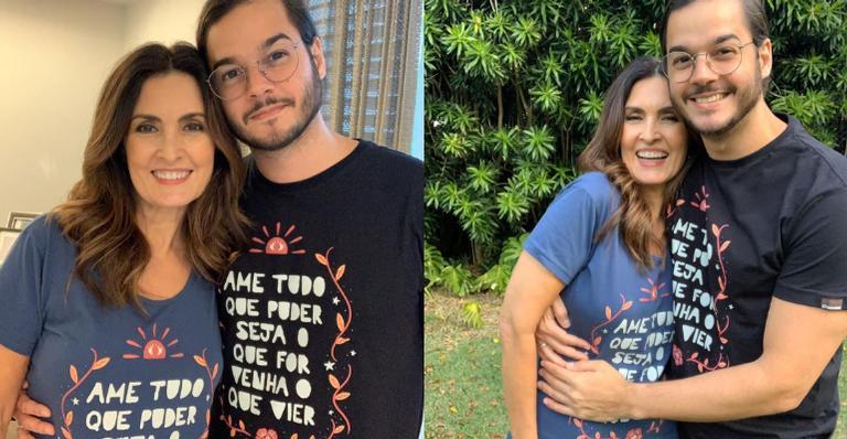 Fátima Bernardes posa com o namorado com camiseta de cantor - (Foto: Instagram)