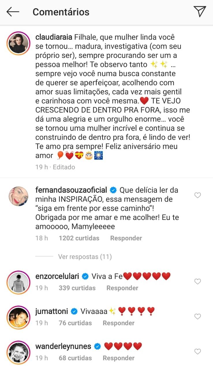 Fernanda Souza recebeu mensagem de Enzo Celulari (Foto: reprodução/Instagram)
