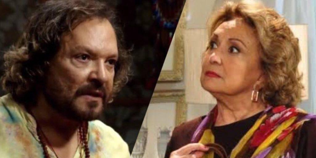 Fina Estampa, Álvaro coloca a mãe Íris contra a parede (Montagem: TV Foco)