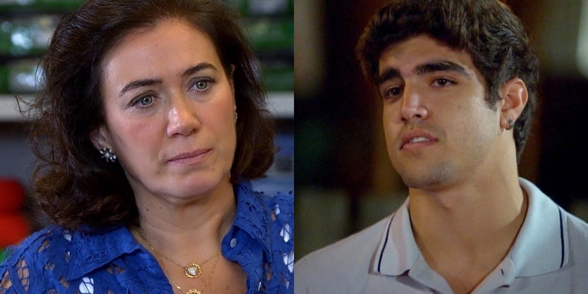 Griselda (Lilia Cabral) levará lição de moral de Antenor (Caio Castro) após ser desmascarada em Fina Estampa (Foto: Reprodução/Globo)