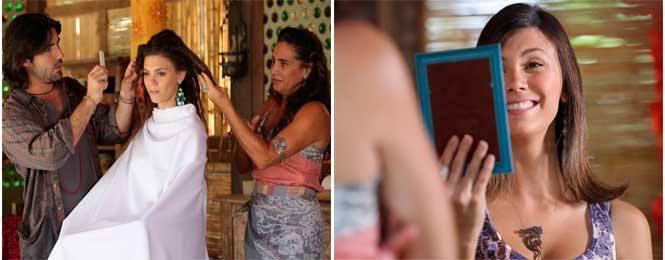 Fina Estampa, Luana decide mudar o visual com a ajuda de Mandrake e Zambeze (Imagem: Globo)