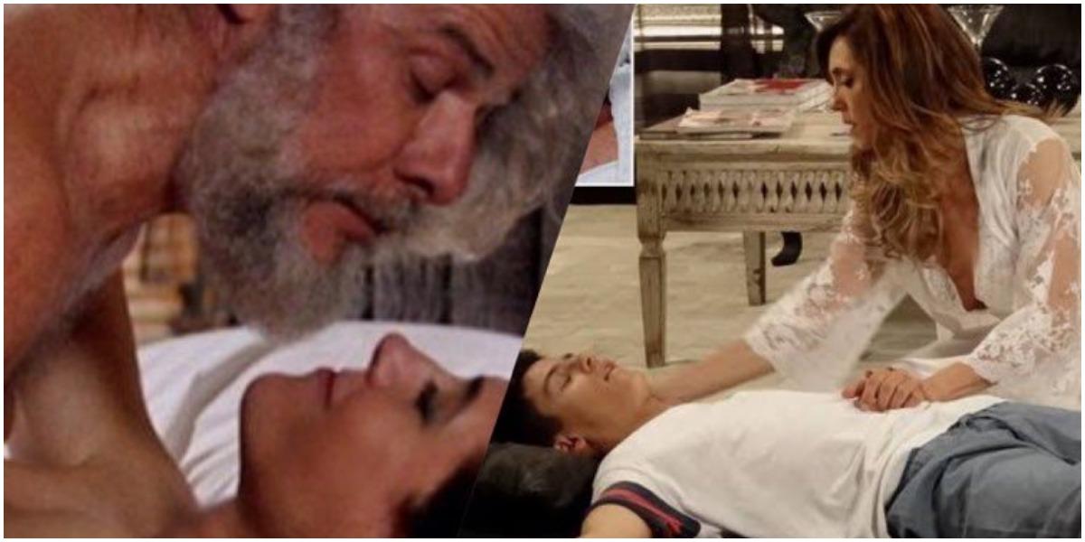 Fina Estampa, René Jr. tem piripaque ao flagrar pereirinha pelado na cama de sua mãe (Montagem: TV Foco)