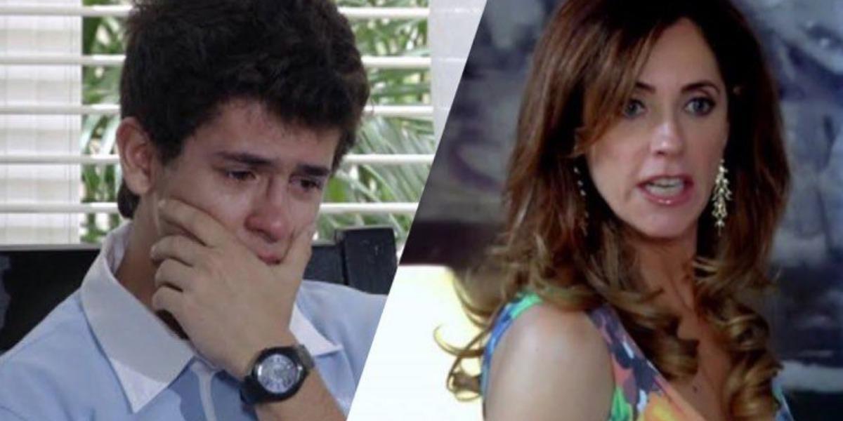 Tereza Cristina tenta fazer mais uma vítima na escada de sua mansão e é flagrada pelo filho em Fina Estampa (Imagem: Globo)