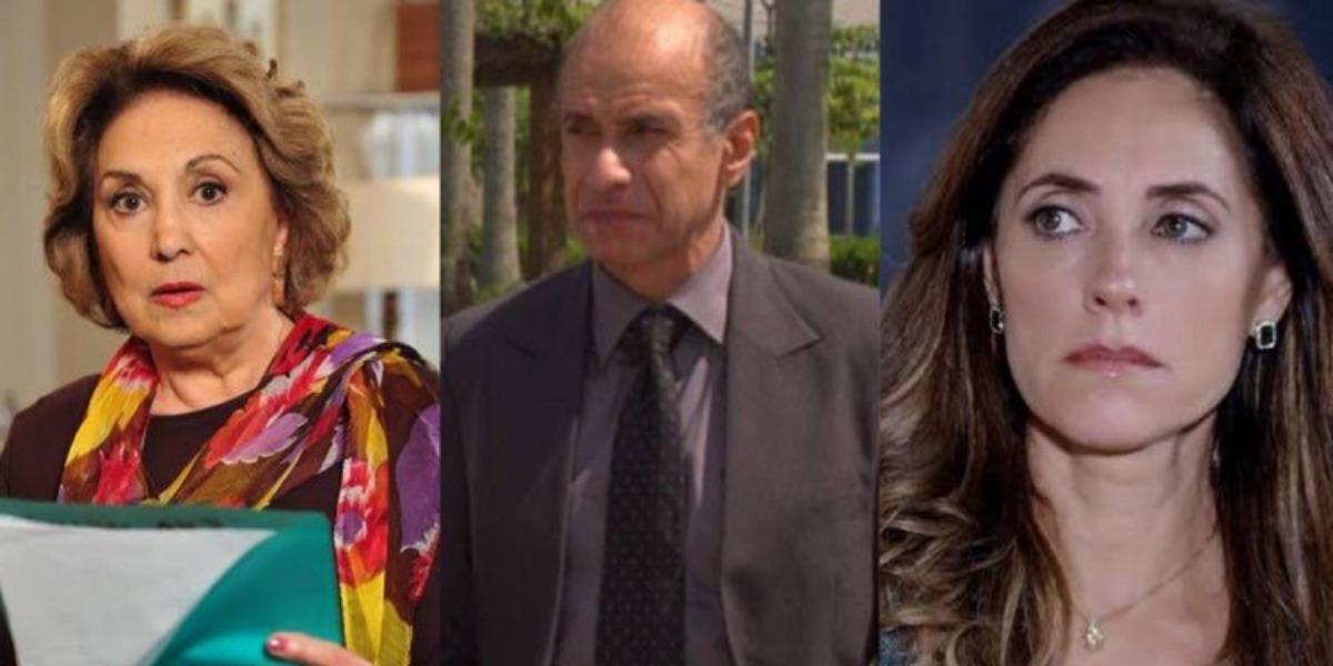 Fina Estampa, Tia Íris fala demais e coloca Tereza Cristina na mira do delegado Paredes (Montagem: TV Foco)