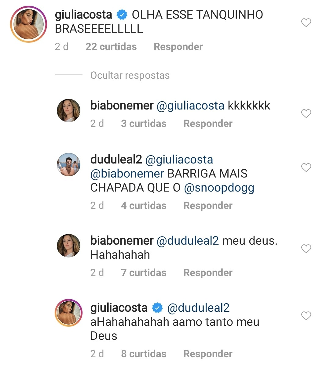 Bia Bonemer recebeu comentários de Giulia Costa em sua última publicação (Foto: reprodução/Instagram)