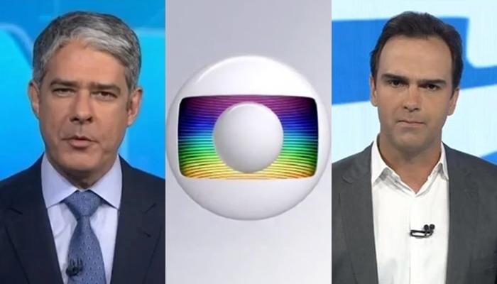 William Bonner no Jornal Nacional e Tadeu Schmidt no Fantástico; programas tem faturamento com breaks exclusivos (Foto: Reprodução/Globo/Montagem TV Foco)