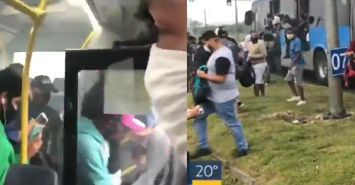 Jornalista da Globo é surpreendido com fogo em ônibus (Foto: Montagem)