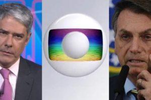 William Bonner no Jornal Nacional e Jair Bolsonaro; presidente vem travando guerra com a Globo por causa do coronavírus (Foto: Reprodução/Globo/Montagem)