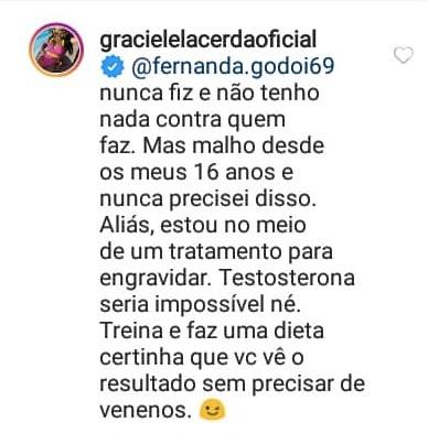 Graciele Lacerda respondeu uma internauta (Foto: reprodução/Instagram)