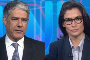 William Bonner e Renata Vasconcellos no Jornal Nacional; telejornal terá truque por causa de programação dupla (Foto: Reprodução/Globo)